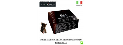 Cartouches Balles Slug Calibre 28/70 BASCHIERI-&-PELLAGRI-Big GameThrill shock-haute vitesse-17-grammes-Boite de 10-Ref 29937
