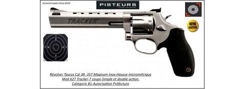 Révolver Taurus 627 Tracker Calibre38-357 magnum inox Canon 6 pouces+ compensateur -Catégorie B1-Autorisation-Préfecture-Promotion-Ref 30077