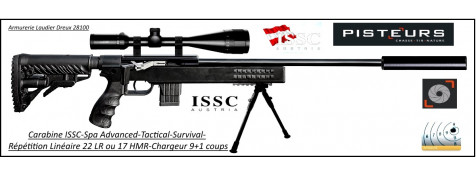 Carabine-ISSC-SPA-Advanced-Tactical-Survival-synthetique-Autriche- Répétition-Linéaire-Cal 22 Lr- ou- 17-HMR+ Mallette-Promotion