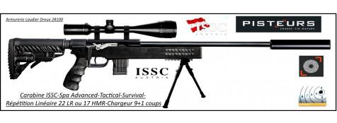 Carabine ISSC SPA Advanced Tactical Survival-synthetique-Autriche- Répétition-Linéaire-Cal 22 Lr- ou- 17-HMR+ Mallette-Promotion