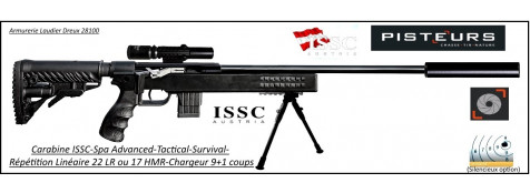 Carabine ISSC SPA Advanced Tactical Survival-synthetique-Autriche-Répétition-Linéaire-Cal -22Lr-ou-17 HMR+ Mallette-+lunette+bipied-Promotion-Ref issc-30506bis-issc30303bis