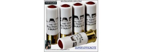 Cartouches 2 balles caoutchouc  SAPL DEFENSE Calibre 12-67-Portée -35 mètres-boite-5 cartouches-Non-létale-Ref 30314