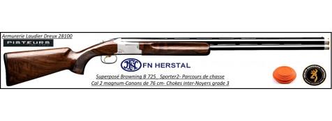 Superposé Browning B 725 Sporter 2  Parcours de chasse trap Forearm Calibre 12 Magnum Canons 76 cm.Ref 30367