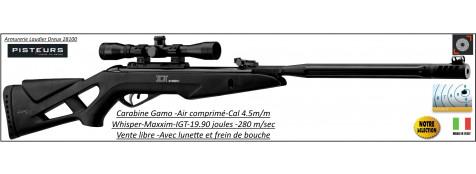 Carabine-Gamo-whisper -Maxxim-air comprimé-Cal 4.5mm -19.90 joules+ Lunette Gamo 4x32 WR + frein bouche- Promotion-Ref 30692