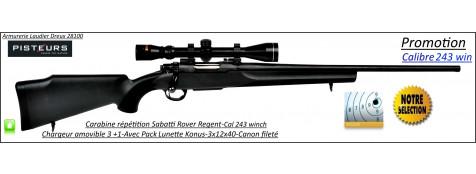 Carabine-Sabatti-Rover-Regent-Répétition-Cal 243 winch-Avec-Pack -lunette Konus -3x12x40-CANON-FILETE-56 cm-Promotion-Ref 30739