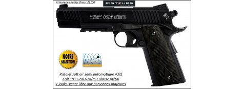 Pistolet-colt-1911-Soft air-Cal 6mm-C02-gun-blakened-Culasse métal-bronzé-1 joule-15 coups-Ref 30847