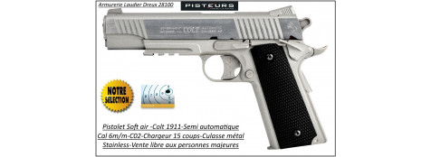 Pistolet-colt-1911-Soft air-Cal 6mm-C02-gun-stainless-Full- métal-nickelé-blanc-1 joule-15 coups-Ref 30848