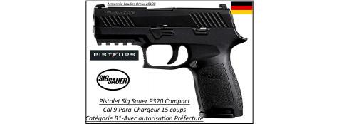 Pistolet-Sig Sauer-P320-Compact-Calibre-9 Para-Semi automatique-Catégorie B1-Promotion-Ref 31475