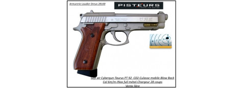 Pistolet-Taurus-PT-92-Soft-air-Cal 6mm-C02-stainless-Culasse-métal-blanche-1,3 joule-28-coups-FULL METAL-Ref 31532