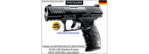 Pistolet walther Umarex PPQ M2 T4E Calibre 43 balles Caoutchouc DEFENSE Semi auto- Ref 31957