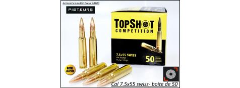 Cartouches Top Shot  Calibre  7.5 x 55 Swiss-Boite de 50-Promotion-Ref 31997-35471