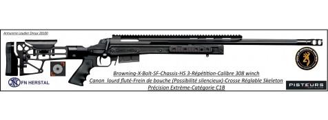 Carabine-Browning-X-BOLT- SF-CHASSIS-HS3-BLACK-Calibre 308 winch-Répétition-Crosse-réglable-rails picatini +Frein bouche-canon -fluté-Promotion-Ref 32838