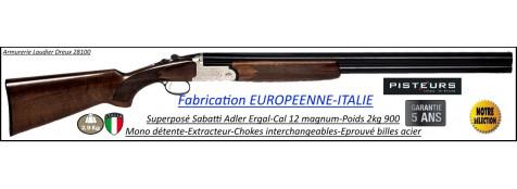 """Superposé-Sabatti-Adler-UNIFRANCE -Cal12 Magnum- Extracteur-Monodétente-canons 71 cm-Chokes interchangeables-""""Promotion""""-Ref 32979"""