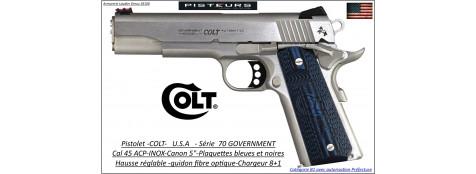 Pistolet COLT séries 70 Government inox USA Calibre 45 ACP Canon pouces- Plaquettes bleues-noires-Catégorie B1-Autorisation-Préfecture-Ref 33819