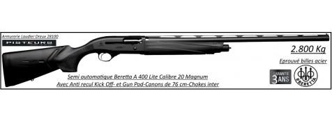 Fusil semi automatique Beretta A 400 Lite Calibre 20 magnum-Canon 76 cm+ Kick Off-+Gun Pod- ref 32279