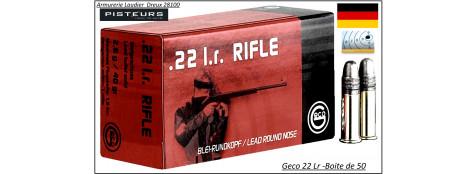 Cartouches-GECO -22 Lr-LRN-Allemandes- Entrainement  pour  carabines de tir et pistolets-Ref 33984