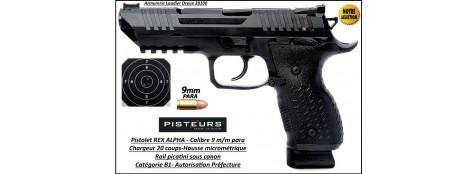 Pistolet REX ALPHA Calibre 9mm para 20 coups Catégorie B1-Autorisation-Préfecture-Promotion-Ref 35187