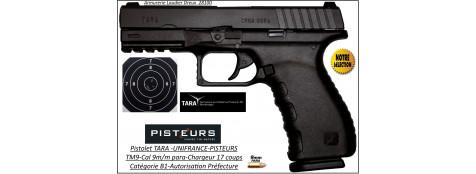 Pistolet Tara Calibre 9mm para TM9 noir 17 coups-Catégorie B1-Autorisation-Préfecture-Promotion-Ref 35233