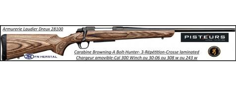 Carabine Browning  A BOLT 3 Hunter laminated Répétition  Calibre 300 winch mag Canon-fileté-Ref 35354