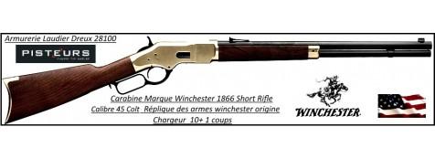Carabine WINCHESTER Authentique1866 Calibre 45 Colt Short rifle boitier laiton canon rond  -Ref 35550