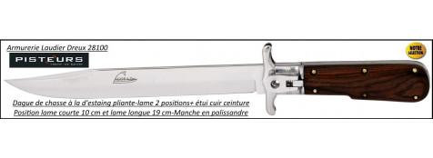 Dague chasse à la d'estaing  pliante lame de 19 cm manche palissandre-Ref 35838