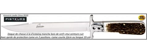 Dague chasse à la d'estaing  pliante lame de 19 cm manche bois cerf-Ref 35839