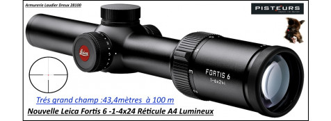 Lunette Leica Fortis 6 grossissement 1-6 x 24 Réticules lumineux 4A  colliers 30mm-Promotion-Ref 35941
