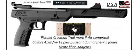 Pistolet Air comprimé Crosman Trail mark II NP Calibre 4,5m/m Puissance 7,5 joules- Un coup-LE PLUS PUISSANT DU MARCHE- Promotion-Ref 36982