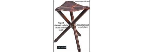 Siège trépied cuir haut 65 cm-Ref 37142