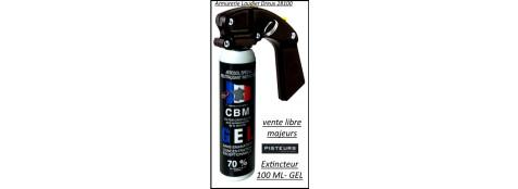Bombe aérosol  GEL100 ml DEFENSE lacrymogène Extincteur CBM  avec poignée-Ref 37208