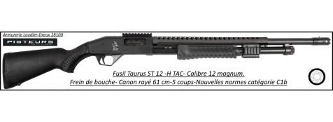 Fusil pompe Taurus ST 12 H TAC  Calibre 12 Magnum-Canon rayé-61cm-4+1 coups+ cache flamme-Promotion-Ref -37699