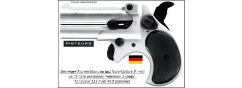 Pistolet alarme Rohm Derringer chromé à-blanc ou à gaz Calibre-9 mm R-2 coups-Ref 38042