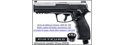 Pistolet T4E HDP 50 Umarex CaIibre 50- balles Caoutchouc DEFENSE 6 coups-11 joules-VENTE LIBRE-Promotion-Ref 38595