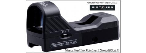 Viseur Walther  Competition III point  vert avec rail type Weaver rail 21m/m-pour 22 Lr ou Soft air-Ref 38596