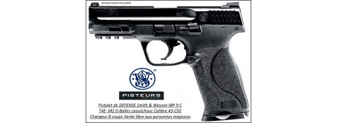 Pistolet Smith et Wesson MP 9C T4E Umarex Calibre 43 balles Caoutchouc DEFENSE Semi auto- Ref 38648