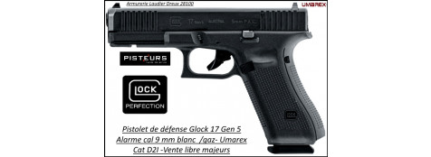 Pistolet alarme Glock 17 gen5 Calibre 9 m/m Umarex  DEFENSE Semi aut 17 coups blanc /gaz-Série Limitée-Promotion-Ref 40805-41672