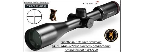 Lunette KITE OPTICS K4  x4i  BL grossissement 3x12x50 -Réticule lumineux-grand champ -Ref  k282349-kite