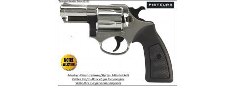 Révolver-Kimar-Power-Compétitive-Nickelé-défense-alarme-Calibre-9m/m-blanc/gaz-Canon-2- pouces-Promotion-Ref 4368