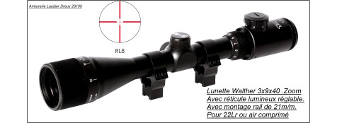 "Lunette-Walther-Allemande- 3-9 X 40 -Réticule Lumineux -RL8-""Promotion""-Ref 7225"