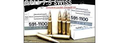 "Cartouches-Cal-7.5 x 55-Swiss- Ruag- Sachet de 10-""Promotion""-Ref 21076-b"