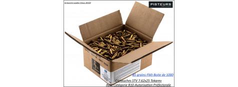 """Cartouches- Surplus-CIP-STV- 7.62x25-TOKAREV-85 grains FMJ- Par 1000 cartouches-""""Promotion""""-Ref 34471"""