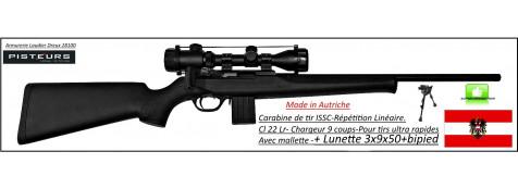 Carabine ISSC SPA Standard Black Autriche  Répétition-Linéaire-Cal 22 Lr+ lunette 3x9x50+bipied-canon fileté+ Mallette -Promotion-Ref issc-27546