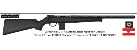 Carabine ISSC Calibre 22 Lr SPA Standard Black CUSTOM SILENCE Autriche  Répétition Linéaire-Promotion-Ref issc-896208-col