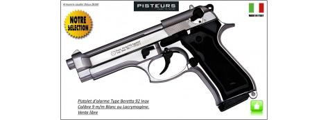 "Pistolet -alarme- Kimar- à blanc /gaz-Type Beretta -92 Nickelé -Cal. 9 mm-""Promotion""-Ref 1495"