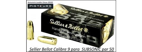 Cartouches 9 para Sellier Bellot SUBSONIC FMJ Blindées-Par -50-poids-9gr/ 140 grs-Promotion-Ref 3095