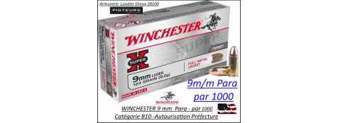 Cartouches 9 para Winchester FMJ Blindées Par 1000  poids 8gr/ 124 grs-Promotion-Ref cw9mm124-1000