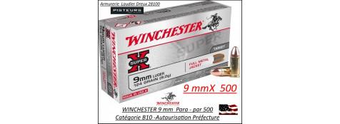 Cartouches 9 para Winchester FMJ Blindées Par 500 poids 8gr/ 124 grs-Promotion-Ref cw9mm124-500