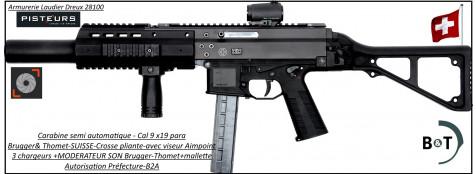 Carabine-Brugger-et-Thomet-APC9-SD-semi-automatique-Cal-9-para-crosse-pliante-viseur-Aimpoint-3-chargeurs-et-Silencieux-Avec-Autorisation-Préfectorale-B2A-PRIX-DESTOCKAGE-Ref APC9-SD