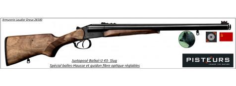 Juxtaposé Baïkal Ij 43 SLUG-Cal 12/70-Spécial balles+visée TRUGLO-Canons de 51 cm-Ref 14004