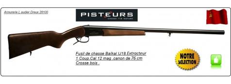 Fusil-un coup-Baïkal -Cal12mag-Extracteur-Canon 76cm-Crosse bois-Ref 18695